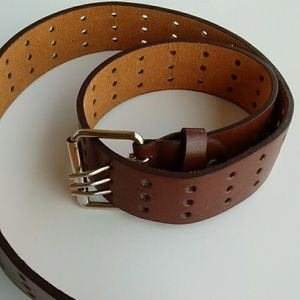 NWOT Genuine Leather triple prong Belt Buckle 3